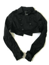 JNBY JACKET DOUBLE BREASTED CROPPED CROP LONG SLEEVE BUTTON BLACK SIZE M MEDIUM