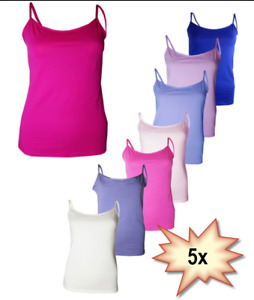 5 x Pack Ladies Womens Strappy Stretch Cotton Blend Cami Vest tops  Size 8 - 18