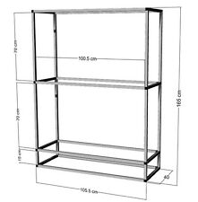 Scaffale di alluminio per 2 - 3st. 100x40x50cm ACQUARI-terrari