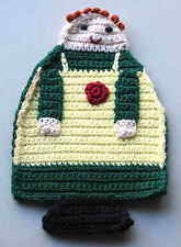 """Kitchen Cook Hand Crocheted Doily Hot Pad w hanger 11"""" acrylic kitsch FREE SH"""