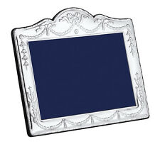 "SOLID SILVER PHOTOGRAPH FRAME (Swag & Bow) 5 X 3.25"" by Carr's"