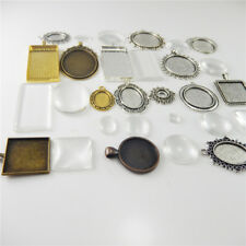 Alloy Jewelry Findings Pendant 15 Sets/Pack Mixed Cameo Setting Tray Glass Cover