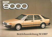 Betriebsanleitung Saab 9000 Modelljahr 1987