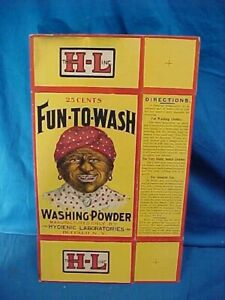 NOS 1930s Unused BOX of FUN TO WASH Soap Powder w BLACK AMERICANA Image Label