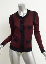 PRADA Womens Burgundy+Black Lightweight Knit Cardigan Sweater Shirt Top 46/10