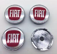 4 x 60mm FIAT Logo Silber Red Chrom Nabenkappen Felgendeckel Allufelge Wheel Cap