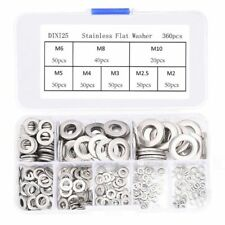 360Pcs Stainless steel Flat Washers Sealing Ring Washers Assortment Set 8 S A1N1
