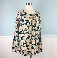 Size 1X Lucky Brand Women's Plus Lace Up Floral Boho Peasant Top Shirt Blouse