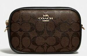 NWT Coach F79209 Small Signature Brown/Black Coated Canvas Leather Belt Bag