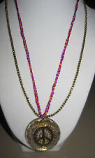 BETSEY JOHNSON St. Bart LUCITE PEACE SIGN NECKLACE