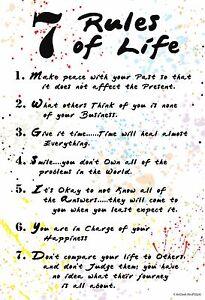 "13""×19"" Inspirational Motivational Poster 7 RULES OF LIFE Meditation Buddha Zen"