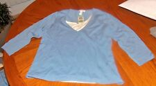 NEW LADIES KNIT TOP SIZE LARGE CHARTER CLUB LIGHT BLUE & WHITE LAYERED LOOK NWT