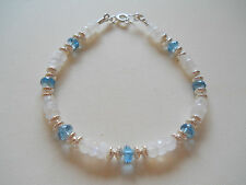 "Rainbow Moonstone & London Blue Topaz Sterling Silver Bracelet - 7 3/4"""