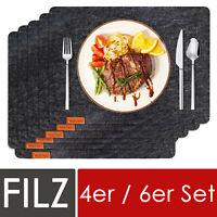 Filz Platzset Deko Tischset 44x32cm abwaschbar Platzdeckchen 4er 6er Set Grau