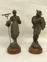 Pair Of Victorian Spelter Figures Of Farmers