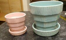 Pink And Teal McCoy Basketweave Planters