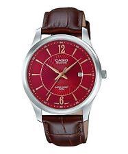 "Casio BEM151L-4A ""Beside"" Men's Black Leather Dress Watch 50M RED Dial"