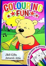 New Kids Children's Fun Colouring Activity Learning Book 48 Pages Bear Trumpet