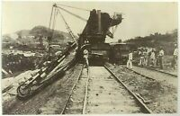 Postcard 1970's Repro Panama Canal French Effort Engineering Railroad Sepia