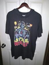 STAR WARS Darth Vader T-Shirt Hoodie 60% Cotton Size XL Hood Black Short Sleeve