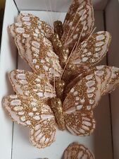 x12 Rose Gold/pink Butterflies .7cm Glitter on a 20cm wire.Ideal wedding etc
