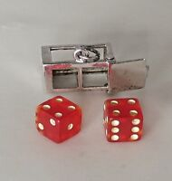 Vintage RED DICE in CASE LUCKY Movable JMF Sterling Silver Charm RARE