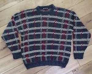 Men's Vintage St Michael M&S Jumper Sweater Hipster Tartan Size Medium