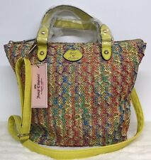 Juicy Couture Woven Rainbow Straw Lurex Convertible Mini Tote Purse Handbag