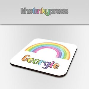 Personalised Watercolour Rainbow Coaster Drink Mat Gift Add Any Name Free