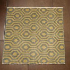 Small Square Wool Rug Designer Geometric Pattern Light Blue Off White Cream 2x2