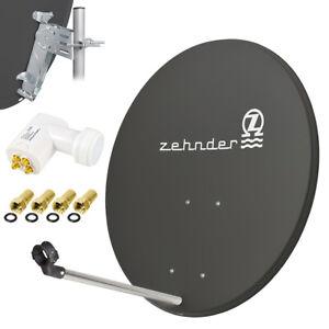 ZEHNDER Digitale SAT Anlage 80cm Satelliten Spiegel Schüssel + Quad LNB 0,1dB d