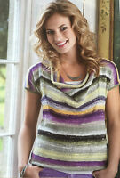 KNITTING PATTERN Ladies Striped Short Sleeved Top Loose Neckline Noro PATTERN