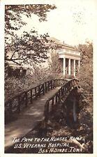 Des Moines Iowa~US Veterans Hospital~Rustic Bridge on Path~Nurses Home~1939 RPPC