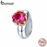 BAMOER Solid S925 Sterling silver Charm Inborn queen & Red CZ For Women Jewelry