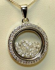 """FLOATING DIAMOND CLUSTER PENDANT 925 STERLING SILVER  & 18"""" Chain Necklace"""