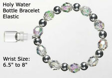 Catholic Holy Water Bracelet with Clear & Silver Acrylic Beads, w/ Holy Water!