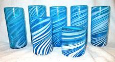 Mixed Set of 7 Vtg Hand Blown Drinking Glasses/Tumblers - Blue w/White Stripes