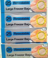 100 LARGE STRONG RESEALABLE FREEZER BAGS USE FOR FOOD OR OTHER STORAGE USE
