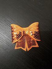 Orange 3D sequin bow hotfix iron on Motif patch Lace xmas costume Applique