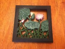 TRIVET SQUARE SHAPED WITH LOTUS FLOWERS DESIGN CAST IRON
