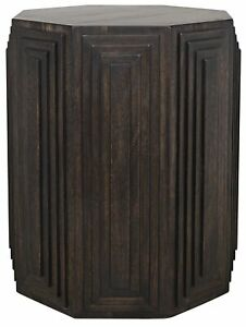 """22"""" W Set of 2 Carved Accent Table Solid Walnut Wood Pedestal Table Rustic"""