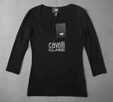 Cavalli Class women's jersey black top size S - Stretch, Fitted, made in Italy