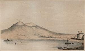 VESUVIUS FROM CASTELLAMARE ITALY Small Antique Lithograph ACHBEE & DANGERFIELD