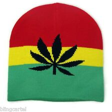 Marijuana Beanie Pot Rasta Weed Black Leaf Mens 420 SKI Warm KNIT Skull Cap Hat