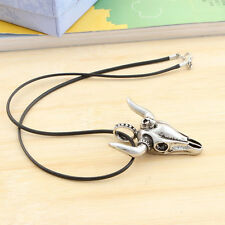 Bull Skull Pendant Necklace Titanium Steel Rope Chain Men Punk Rock Jewelry