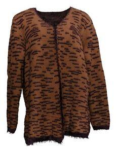 LOGO By Lori Goldstein Women's Sweater Plus Sz 1X Reversible Brown A370304