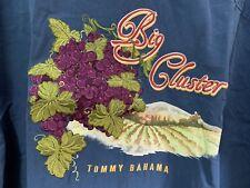 Tommy Bahama BIG CLUSTER Embroidered Silk Camp Shirt Size L Navy NWOT Vineyard