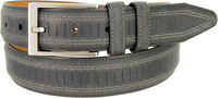 "Lejon Belt Brookline Italian Brushed Leather Dress Belt 1-3/8"" Wide Black"