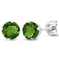 1.00 Ct Round 5mm Chrome Diopside 925 Sterling Silver Stud Women's Earrings