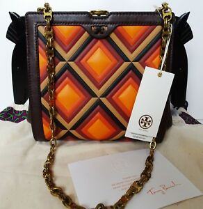 Tory Burch Horse Frame Leather Clutch Cross Body Bag Purse Rare NWT Collectible